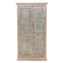 Solid Wood Distressed White Armoire With Shelves.