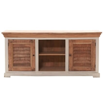 Solid Wood 2 Cabinet Coastal Media Cabinet