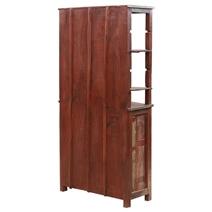 Solid Wood 2 Door Distressed Bookcase cabinet