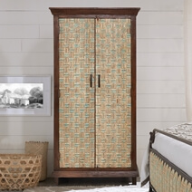 Pretoria Solid Wood Antique Armoire With Internal Shelves