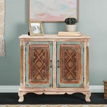 Rustenburg Regal Style Solid Wood Multi-tone Storage Cabinet