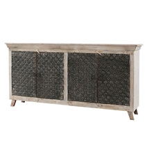 Welkom Solid Wood White Distressed Long Sideboard Cabinet