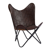 Classic Leather Butterfly Chair with Iron Legs