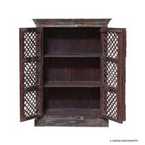 Lattice Door Reclaimed Wood 3 Tier Armoire