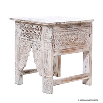 White Handcarved Solid Wood 20 End Table
