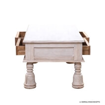 White Mango Wood 2 Drawer Coffee Table