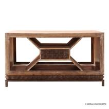 Geometric Rustic Solid Wood 1 Drawer Coffee Table
