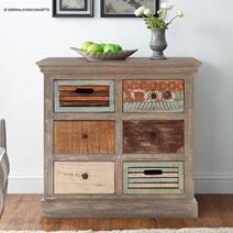 Multicolor Reclaimed Wood  6 Drawer Dresser
