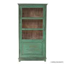 Distressed 4 Tier Solid Wood 63 Bookcase