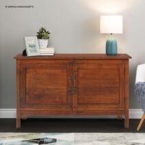 Rustic 2 Tier Solid Wood Storage Cabinet