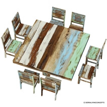 Wilmington Rustic Reclaimed Wood Square Dining Table Chair Set
