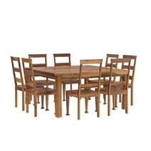 Appalachian Wood Rustic Square 9Pc Dining Table and Chair Set