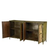 Evendale Rustic Reclaimed Wood 4 Door Industrial Buffet Cabinet