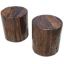 Appalachian Solid Wood 2pc Tree Stump End Table Stool Set