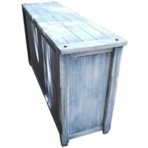 Appalachian Distressed Sky Blue Solid Wood 3 Drawer Large Sideboard