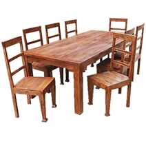 Rustic Furniture Solid Wood Dining Table & Chair Set