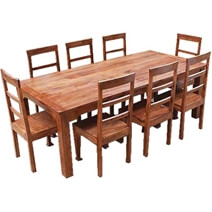 Rustic Farmhouse Style Solid Wood Dining Table & Chair Set for 8 People