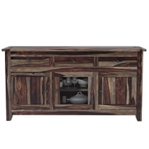 Frisco Modern Rustic Solid Wood Glass Door 3 Drawer Large Sideboard