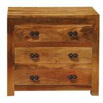 Appalachian Rustic Solid Wood Small Dresser Chest With 3 Drawers