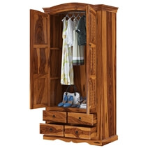 Crawford Rustic Solid Wood Wardrobe Armoire With Drawers And Shelves