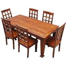 Portland classic 7Pc Contemporary Dining Table with Window Back Chairs