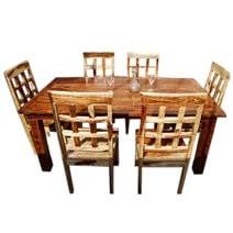 Portland Contemporary 7pc Waffle-Back Dining Room Table Set