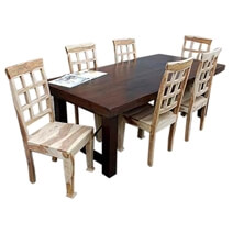 Santa Fe Solid Wood Rustic Dining Table and Chair Set For 6 People