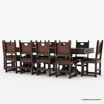 Nottingham Solid Wood Large Rustic Dining Room Table Chair Set
