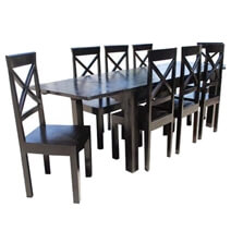 Oklahoma Ebony 9 Piece Dining Table Chair Set w Extension