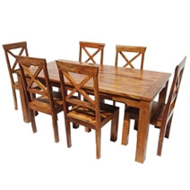 Rustic Solid Wood Oklahoma Dining Table & Chair Set