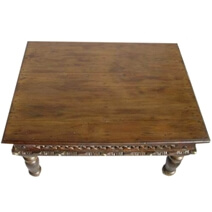 Lattice Handcrafted Brass Accents Solid Mango Wood Coffee Table
