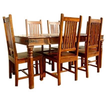 Lincoln Solid Wood Dining Table with School Back Chairs