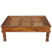 Auburn Classic Handcrafted Brass and Mango Wood Coffee Table
