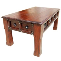 Bayfield Rustic Handcrafted Solid Wood Coffee Table W Iron Accents