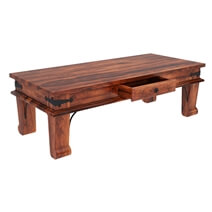 Cotesfield Rustic Solid Wood Coffee Table With Drawer