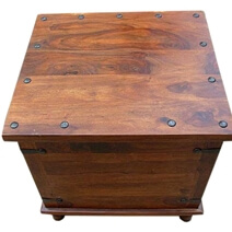Square Wood with Metal Storage Trunk Box Accent Table