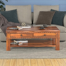 Everett Stylish 100% Handcrafted Solid Wood 2-Tier Coffee Table