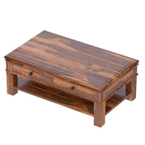 Everett Stylish Handcrafted Rustic Solid Wood 2-Tier Coffee Table