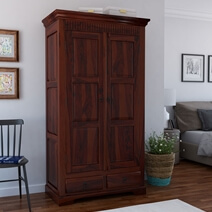 Marengo Rustic Solid Wood Large Clothing Armoire Wardrobe With Drawers
