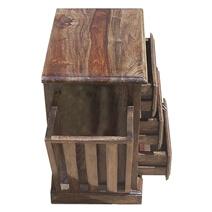 Moreno Rustic Solid Wood Walnut 3 Drawer Newspaper Nightstand Cabinet