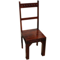 Rustic Solid Wood Camelot Handcrafted School Back Dining Chair