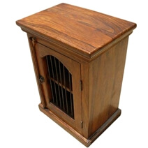 Malone Rustic Solid Wood Iron Grill Door Nightstand