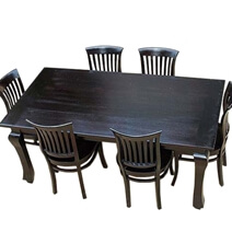 Kansas City Solid Wood Kitchen Dining Table with School Back Chair