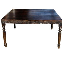 Square Solid Wood Hand Carved Dining Table