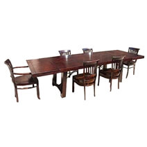 Nottingham Rustic Wood Furniture Extendable Dining Table & Chair Set