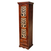 Mia Solid Wood Tall Narrow Armoire Display Cabinet With Drawers