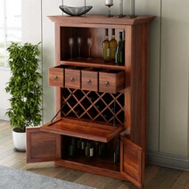 Alabama Solid Wood Bar Cabinet With Drop Down Wine Display Rack