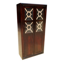 Solid Wood And Glass Display Cabinet Armoire With Shelves