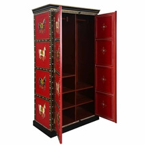 Ithaca Red Hand Painted Solid Wood Large Bedroom Armoire Wardrobe