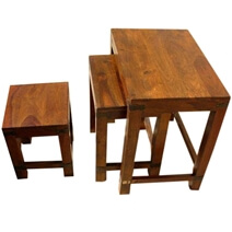 Solid Wood Iron Accent End Side Table 3 Stool Set